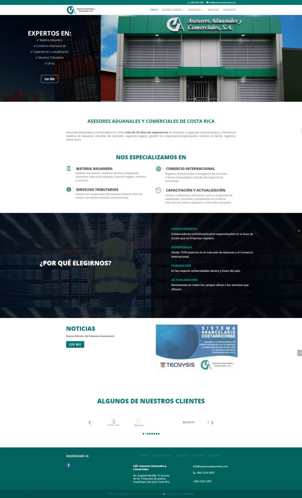 design of the new website costa rica
