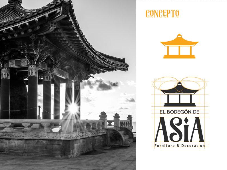bodegon de asia concepto de logo